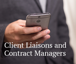 button to client liaisons and contract managers contact info